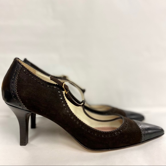 BROOKS BROTHERS T-Strap Tooled Suede Leather Pumps